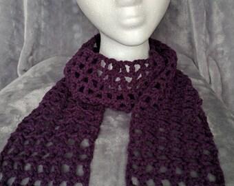 Purple Waffle Stitch Scarf, Extra Long - Crochet