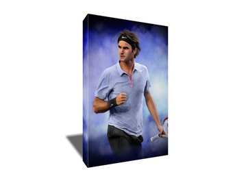 FREE SHIPPING Tennis Greatness Roger Federer Canvas Art