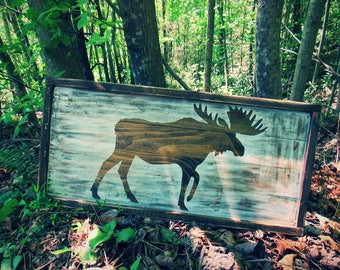 Moose Decor. Moose Picture. Moose Wall Decor. Framed Moose. Rustic Decor. Lodge Decor