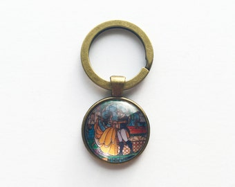 Beauty and the Beast Stained Glass Keychain