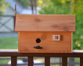Unfinished Cedar Barn Birdhouse with Mini Barn Quilt and Rooster Weathervane Metal Knob Perch Easy Cleanout Handle