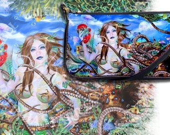 Cacael - Leather Clutch Purse - Mermaid Fantasy