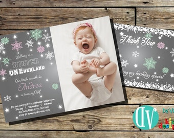 Snowflake Birthday Invitation  Birthday Party Printable -  5x7 or 4x6 and FREE Thank You Card Printable 5x3.5