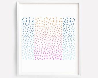 Dots Art, Abstract Art, Nursery Print, Bedroom Print, Girl Wall Print, Nursery Print, Nursery Printable Art, Pink Blue Art, Modern Wall Art