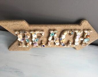 Beach Sign, Beach Decor, Seashell Letters, Coastal Decor, Coastal Beach, Shell Letters, Nautical, Beach House Decor, Home Decor, Wood Sign