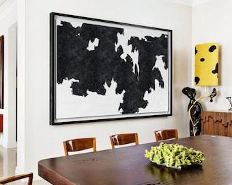 Abstract oil  Painting, Extra Large landscape Canvas Art, Handmade Black White MinimaIlst Painting, home decor- MODERNISMARTSTUDIO