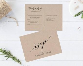 RSVP Postcard, RSVP template, Wedding rsvp, rsvp Postcard, wedding rsvp cards, rsvp printable, Response Card, PDF Instant Download #E015