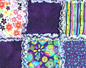 Rag Quilt Handmade for Bassinet or Dolls Handmade - Shades of Purple - 20 1/2 x 25 inches - 52 x 83.5 cm