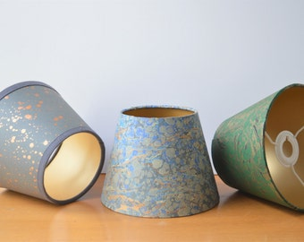 Hand Made and Hand Marbled Paper Lampshades. Made to Order in any size and colour. Empire and Cylinder Drum Lampshade shapes