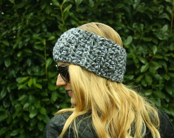 Women's Grey Infinity Ear Warmer, FREE SHIPPING, Handmade in Canada, Crochet Headband
