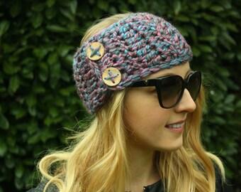 Crochet Headwrap, Women's Ear Warmer, Multicolour Blue, Pink Double Button Headband