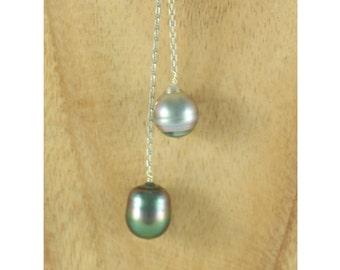 Necklace water drop 2 pearls of Tahiti (3)