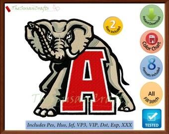 ALABAMA Crimson Tide 2nd EMBROIDERY DESIGNS Pes, Hus, Jef, Dst, Exp, Vp3, Xxx, Vip