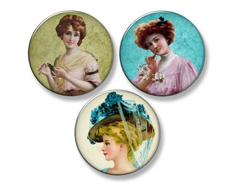 "VICTORIAN LADIES Fridge Magnet Set - 3 Large 2.25"" Round Magnets (Set #2)"