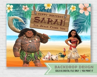 Moana Party Backdrop // Digital File Only // NOT SOLD as printed backdrop,You Print it