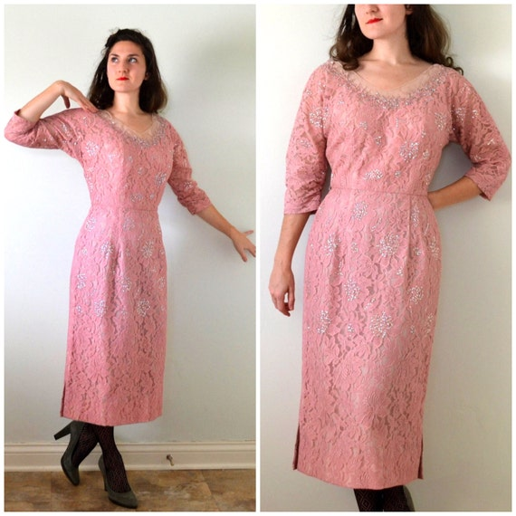 Candy Lace Dress | vintage 40's pink lace illusion wiggle dress | med large