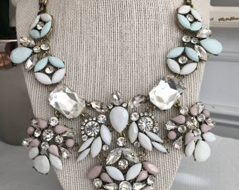 Pastel Mint Statement Bib Necklace