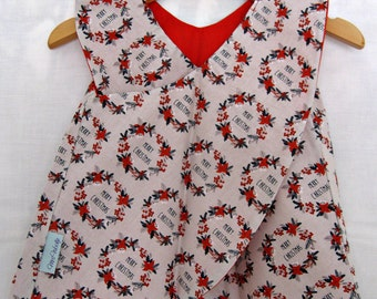 Reversible Christmas Dress size 6-12 months - Vintage Wreath Dress, Red Dress, Infant Christmas Dress, Christmas Dress, 1 year old dress