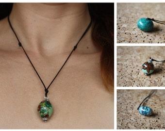 Necklace pendant on rope adjustable hemp - several models