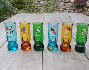 Set of 6 Vintage Confezione Stivaletto Deco Cristallerie glasses. Italy