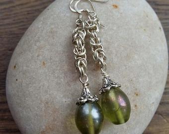 Green Bells Earrings, chainmail earrings, glass bead earrings, green earrings,