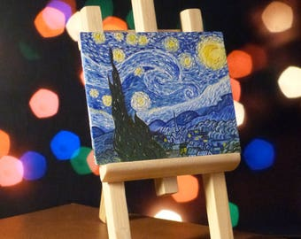 "Picture oil by Vincent van Gogh ""Starry night"" (Mini Replica) + wooden easel"