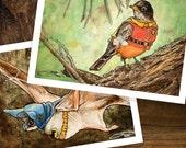 Batman and Robin, Animals in Golden Age Comics Costumes, Art Prints Set