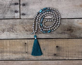 Gray and Turquoise Mala