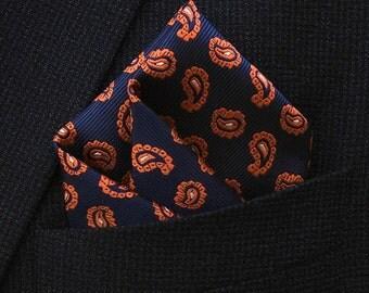 Exclusive Orange Paisley - Pocket Square, Paisley prints, Men Suits, Shirt, Wedding, men pocket square ,Einstecktuch, dapper, gift