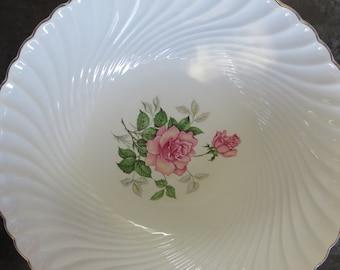 Vintage Salad Bowl / Dish Service Holder - Stamped KG Luneville - French Faience - Romantic Decor