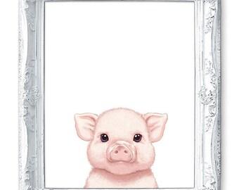 Pig Art Pig Painting Pig Print Pig Illustration Painting Animal Painting Print Pig Nursery Art Pig Baby Pig Pink Piglet Farm Animal Print.