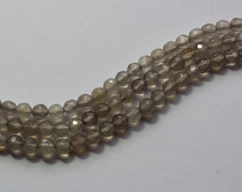 4mm Grey Agate Faceted Beads Rounds 15 inch strand 90 beads gemstone light gray Translucent gemstone beads