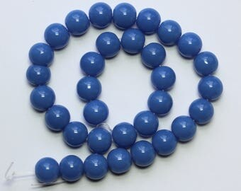 10mm Blue Beads Periwinkle Blue Opaque Glass Rounds 12 inch Strand 30 Beads 1mm Hole Size