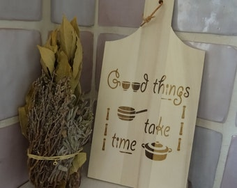 Wood cutting board, engraved with design and personalized quote name,kitchen family gift