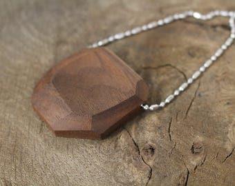 Reclaimed Walnut Pendant || Stainless steel ball chain