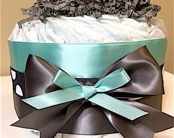 Tiffany Blue and Gray Mini Diaper Cakes (Set of 2), Baby Shower, Centerpiece, Decorations