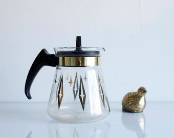 Mid Century Glass Carafe -- Cory Coffee Pot -- Gold Diamond Coffee Pot -- Glass Pitcher with Lid -- Atomic Diamond - Cory C2L