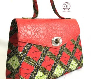 Dinma Red and Green Ankara Bag with Red Croc Skin