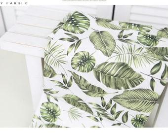 SALE. Botanical fabric. tropical. fabric. green fabric. green leaf fabric. big leaf pattern. cushion fabric. monstera fabric.