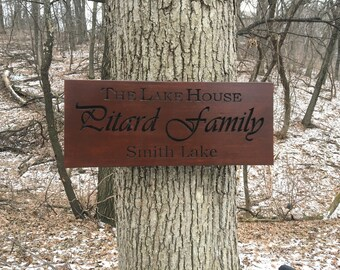 Cabin Wood Sign, Carved Wooden Sign, Personalized Sign, Carved Wood, Popular wood , Housewarming Gift, Cabin Sign With Name, Lake House Sign