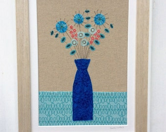 Original Textile Art Picture of Flowers in a blue Vase