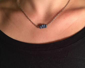 Simply silver necklace with blue stone beads