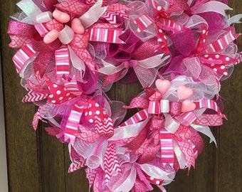 Pink Heart Wreath, Pink Wreath, Heart Wreath, Valentine Wreath, Valentine Decor, Pink Decoration
