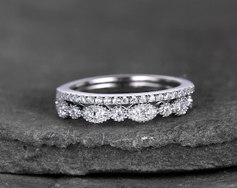 Sterling Silver Ring SET Cubic Zirconia Wedding Band CZ Stack