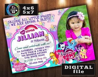 My Little Pony Birthday Invitation, CUSTOM Digital File, Any age, With Photo