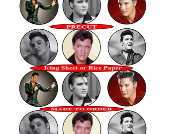 Elvis Presley pre-cut edible  cupcake toppers, 2 sizes