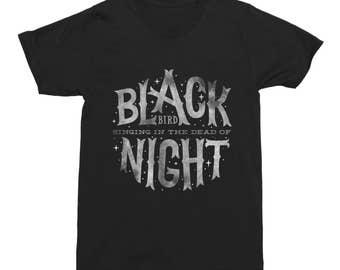 Blackbird TShirt Blackbird Singing in the Dead of Night T-Shirt Tee Cotton Black Typography TShirt Gift Funny Men's T-Shirt
