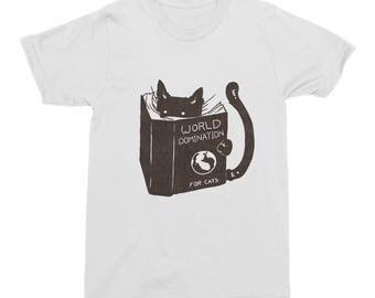 Funny Cat T-Shirt World Domination For Cats Mens T-Shirt Tee Cotton White Funny Cat Book T-Shirt Artist Designed Unisex Men's T-Shirt