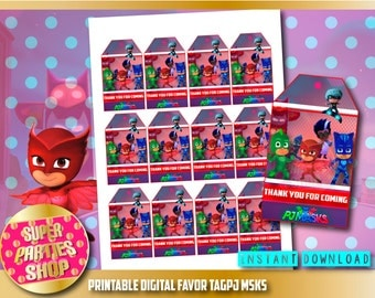 Pj Masks Digital  Printable Favor Tags, Custom Party, Pj Mask ,Birthday,Party, Supply, Kit, Pack, Custom