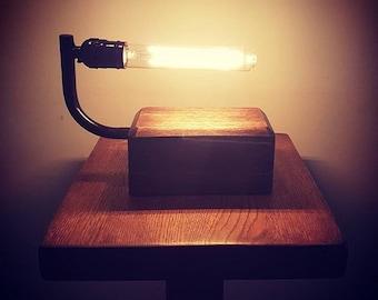 Mahognay Wooden Block Desk lamp, Side Lamp, Table Lamp, Edison bulb,